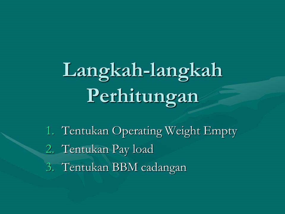 Langkah-langkah Perhitungan 1.Tentukan Operating Weight Empty 2.Tentukan Pay load 3.Tentukan BBM cadangan