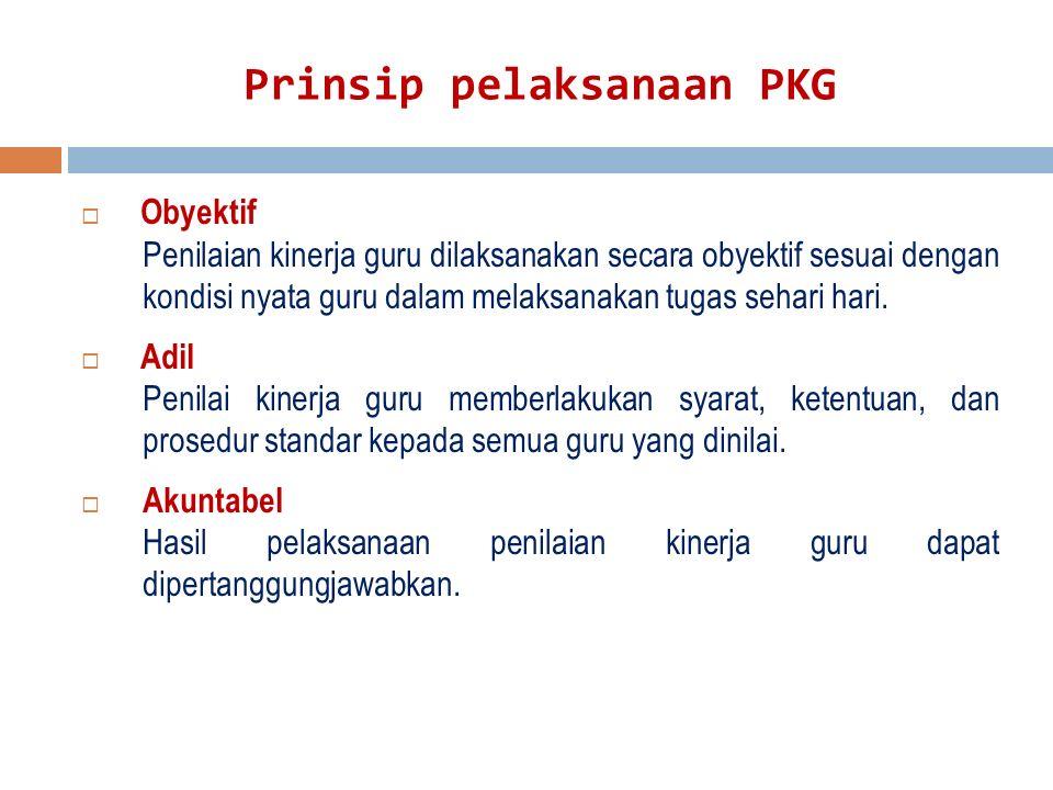 Prinsip pelaksanaan PKG  Obyektif Penilaian kinerja guru dilaksanakan secara obyektif sesuai dengan kondisi nyata guru dalam melaksanakan tugas sehari hari.