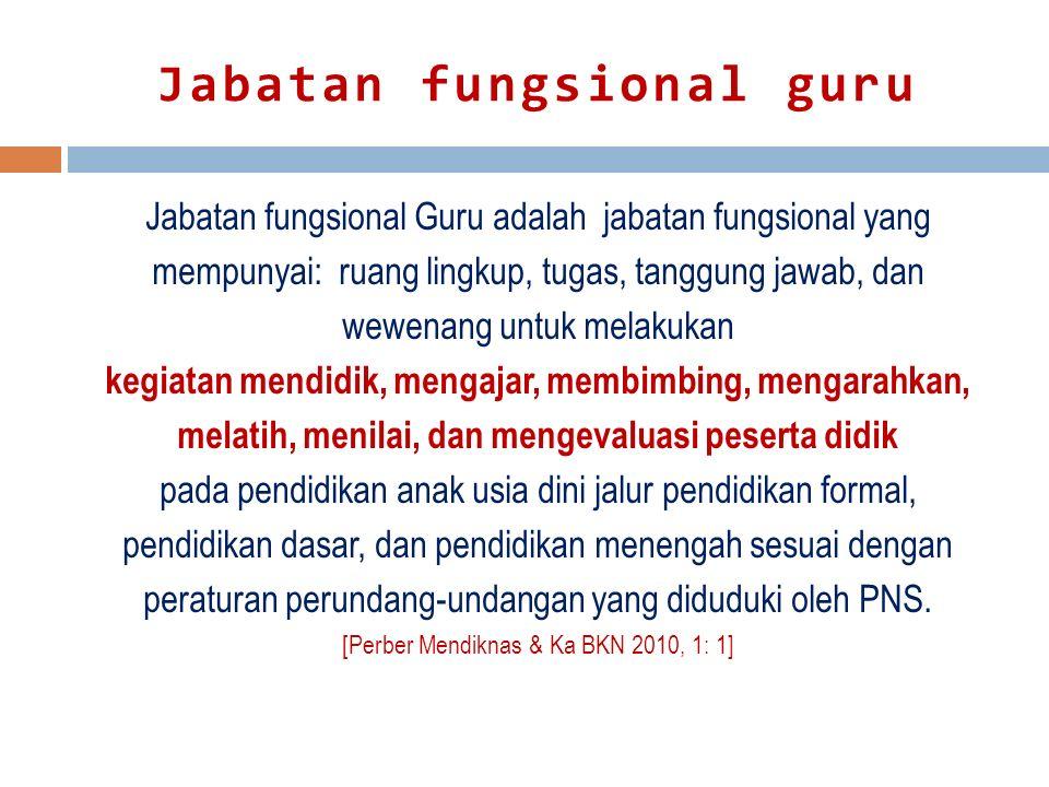 Jabatan fungsional guru Jabatan fungsional Guru adalah jabatan fungsional yang mempunyai: ruang lingkup, tugas, tanggung jawab, dan wewenang untuk mel