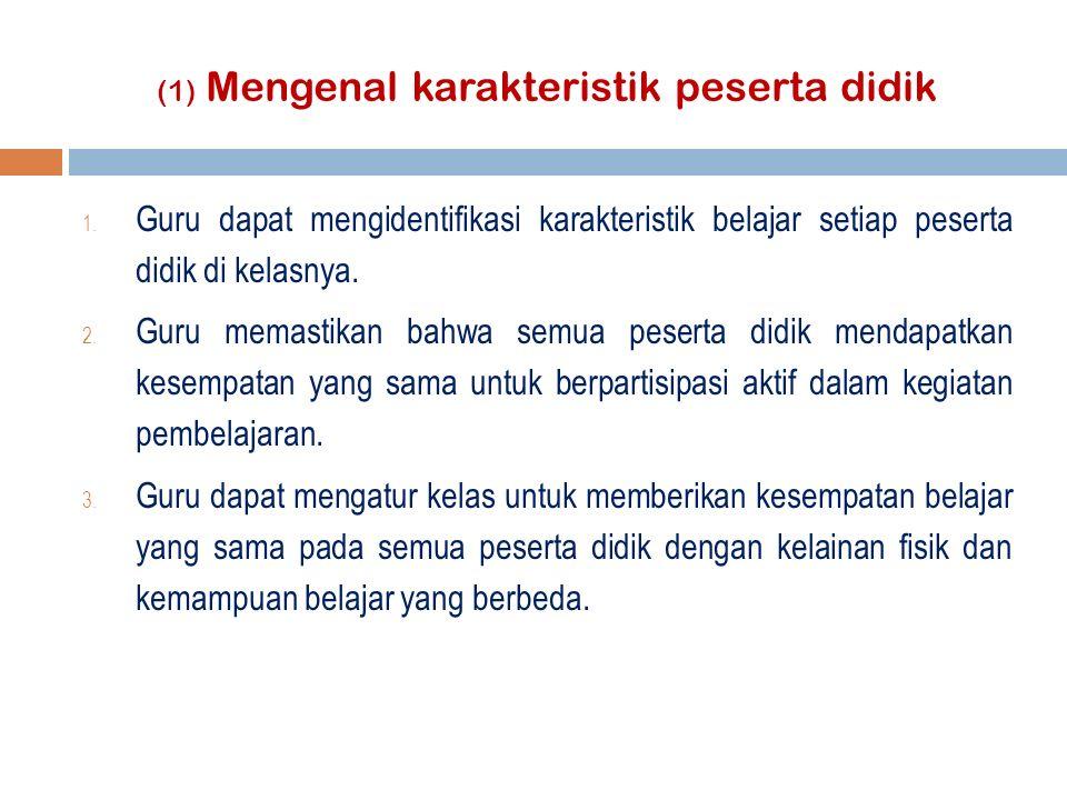 (1) Mengenal karakteristik peserta didik 1.