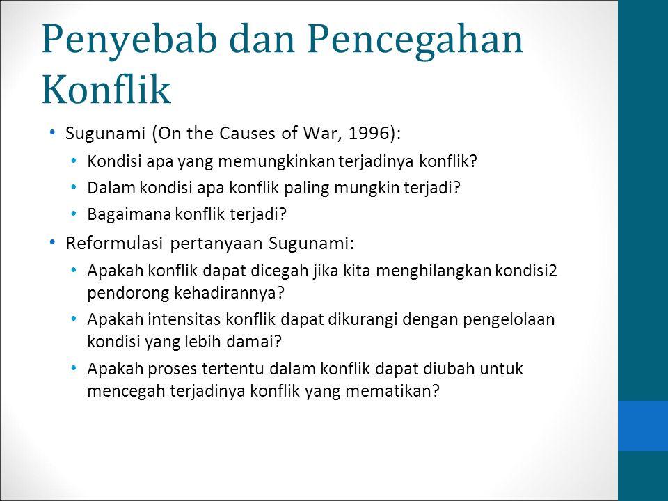 Penyebab dan Pencegahan Konflik Sugunami (On the Causes of War, 1996): Kondisi apa yang memungkinkan terjadinya konflik? Dalam kondisi apa konflik pal