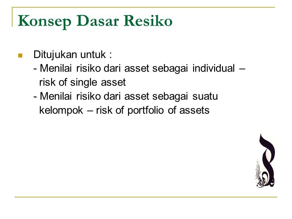 Konsep Dasar Resiko Ditujukan untuk : - Menilai risiko dari asset sebagai individual – risk of single asset - Menilai risiko dari asset sebagai suatu