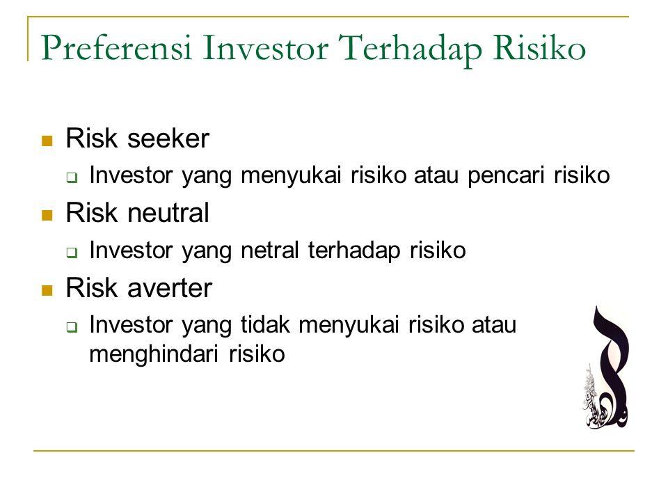 Preferensi Investor Terhadap Risiko Risk seeker  Investor yang menyukai risiko atau pencari risiko Risk neutral  Investor yang netral terhadap risik