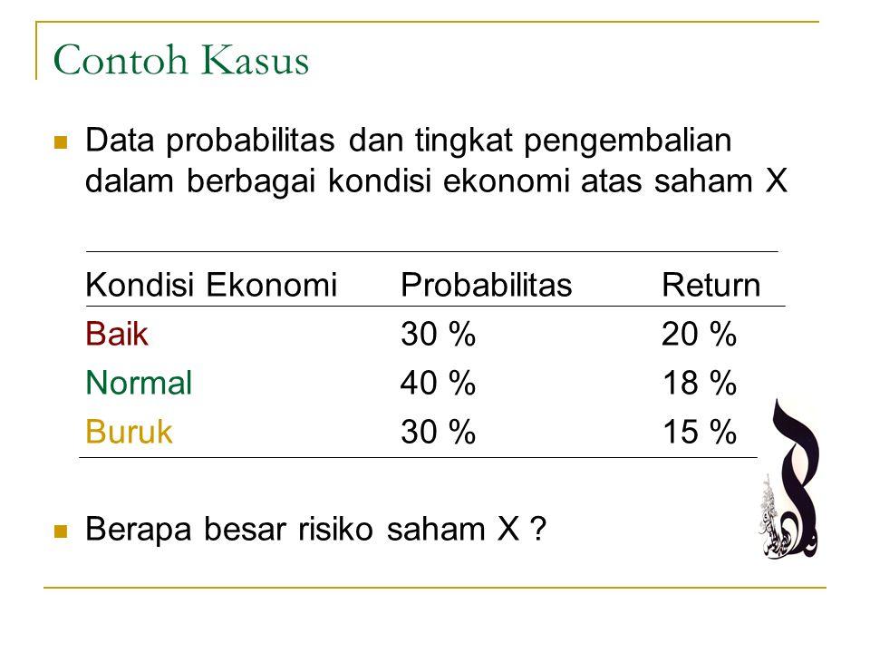 Contoh Kasus Data probabilitas dan tingkat pengembalian dalam berbagai kondisi ekonomi atas saham X Kondisi EkonomiProbabilitasReturn Baik30 %20 % Nor