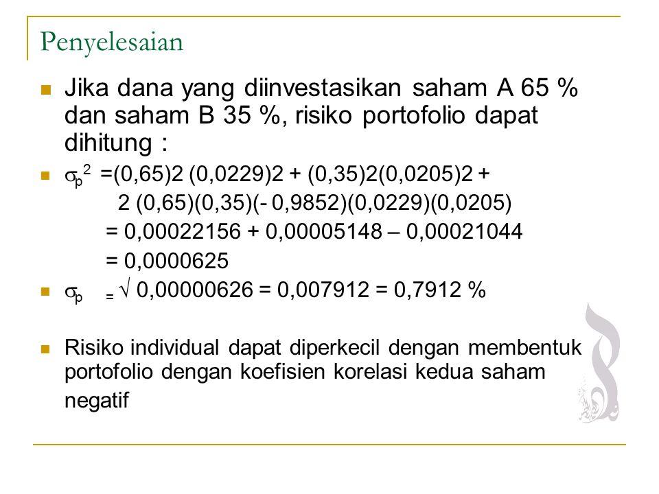 Penyelesaian Jika dana yang diinvestasikan saham A 65 % dan saham B 35 %, risiko portofolio dapat dihitung :  p 2 =(0,65)2 (0,0229)2 + (0,35)2(0,0205