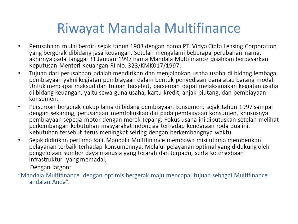 Riwayat Mandala Multifinance Perusahaan mulai berdiri sejak tahun 1983 dengan nama PT. Vidya Cipta Leasing Corporation yang bergerak dibidang jasa keu