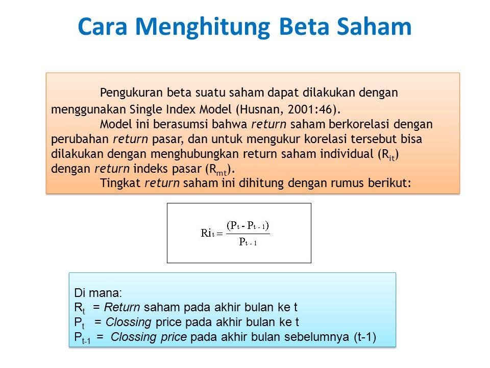Cara Menghitung Beta Saham Pengukuran beta suatu saham dapat dilakukan dengan menggunakan Single Index Model (Husnan, 2001:46). Model ini berasumsi ba