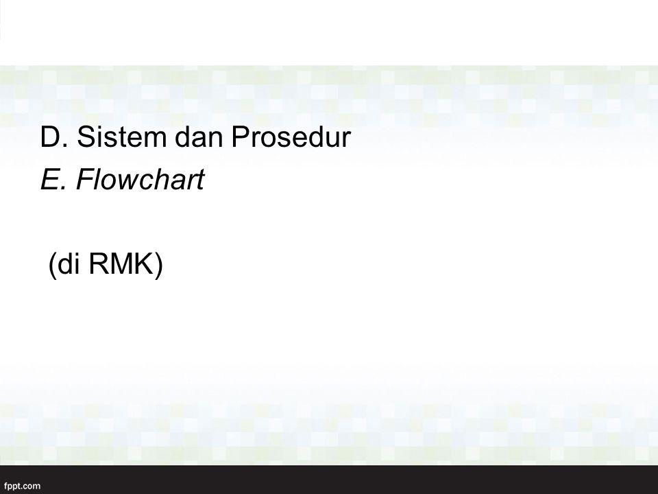 D. Sistem dan Prosedur E. Flowchart (di RMK)