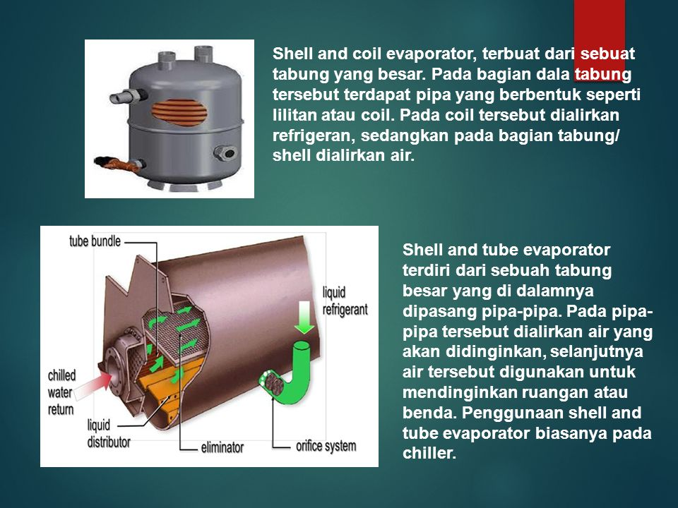 Shell and coil evaporator, terbuat dari sebuat tabung yang besar. Pada bagian dala tabung tersebut terdapat pipa yang berbentuk seperti lilitan atau c