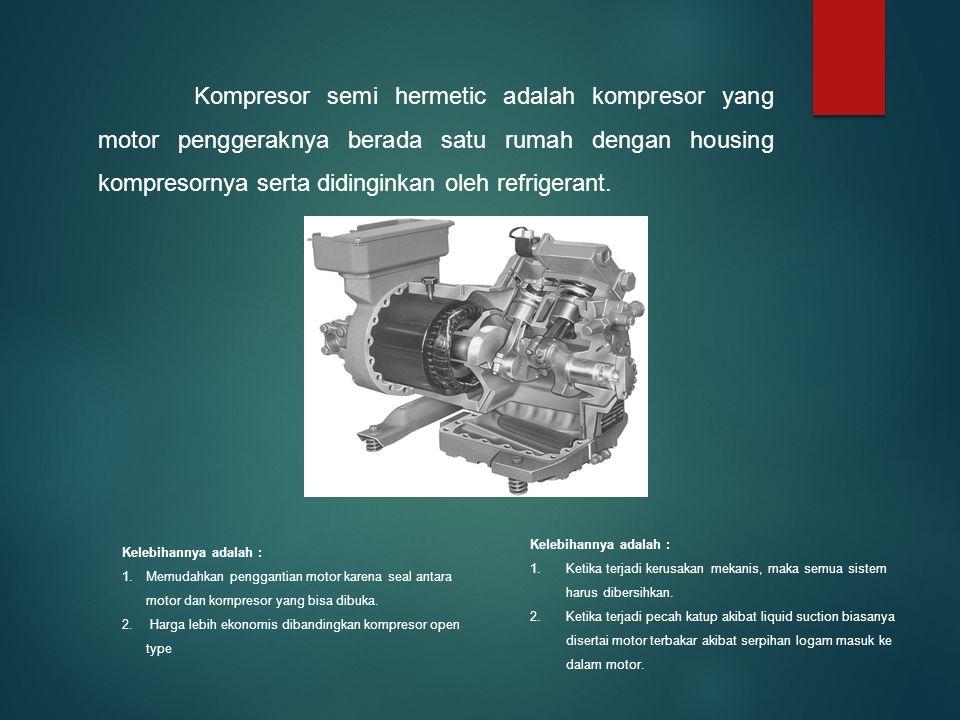 Kompresor semi hermetic adalah kompresor yang motor penggeraknya berada satu rumah dengan housing kompresornya serta didinginkan oleh refrigerant.