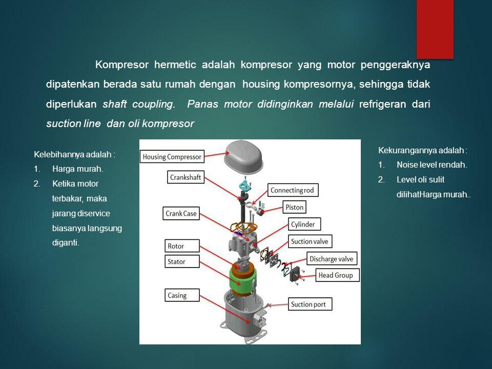 Kompresor hermetic adalah kompresor yang motor penggeraknya dipatenkan berada satu rumah dengan housing kompresornya, sehingga tidak diperlukan shaft coupling.