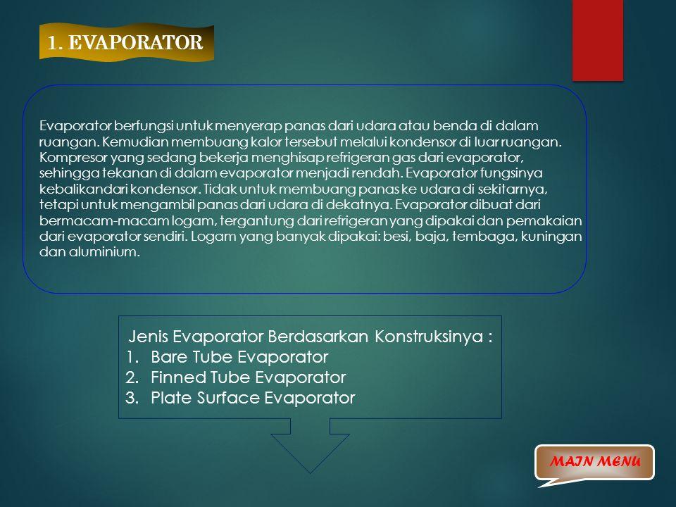 1. EVAPORATOR Evaporator berfungsi untuk menyerap panas dari udara atau benda di dalam ruangan. Kemudian membuang kalor tersebut melalui kondensor di