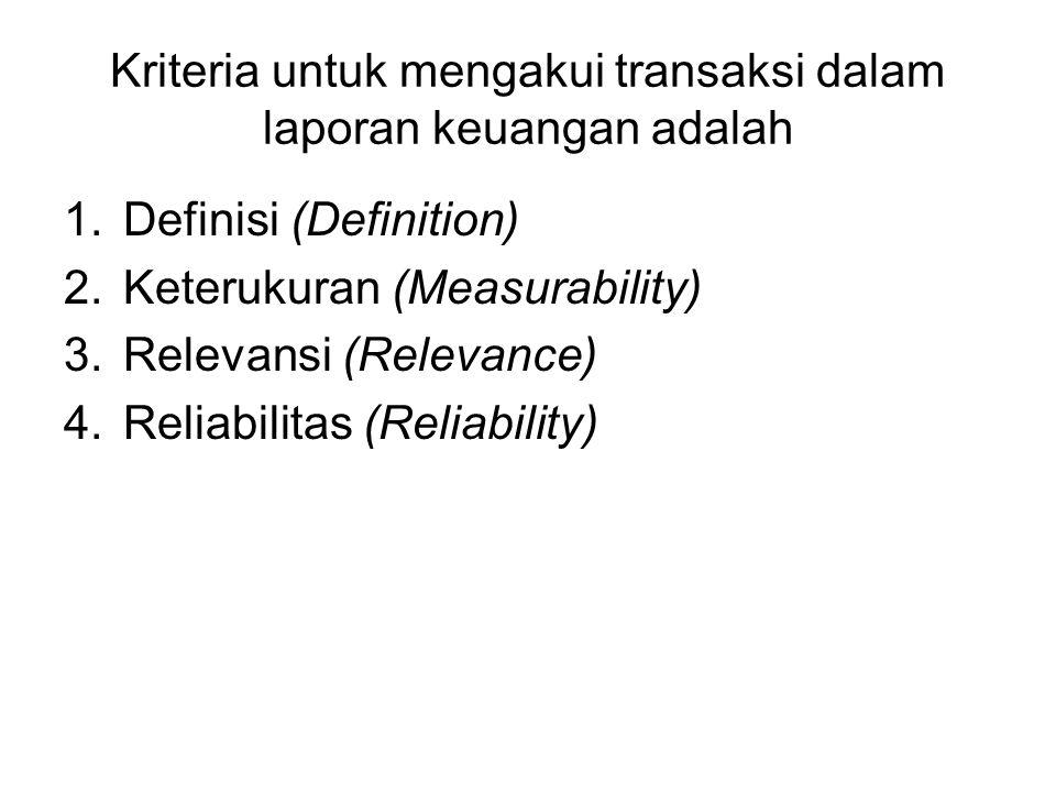 Kriteria untuk mengakui transaksi dalam laporan keuangan adalah 1.Definisi (Definition) 2.Keterukuran (Measurability) 3.Relevansi (Relevance) 4.Reliab