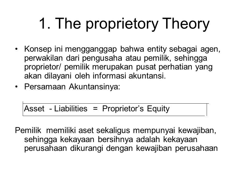 1. The proprietory Theory Konsep ini mengganggap bahwa entity sebagai agen, perwakilan dari pengusaha atau pemilik, sehingga proprietor/ pemilik merup