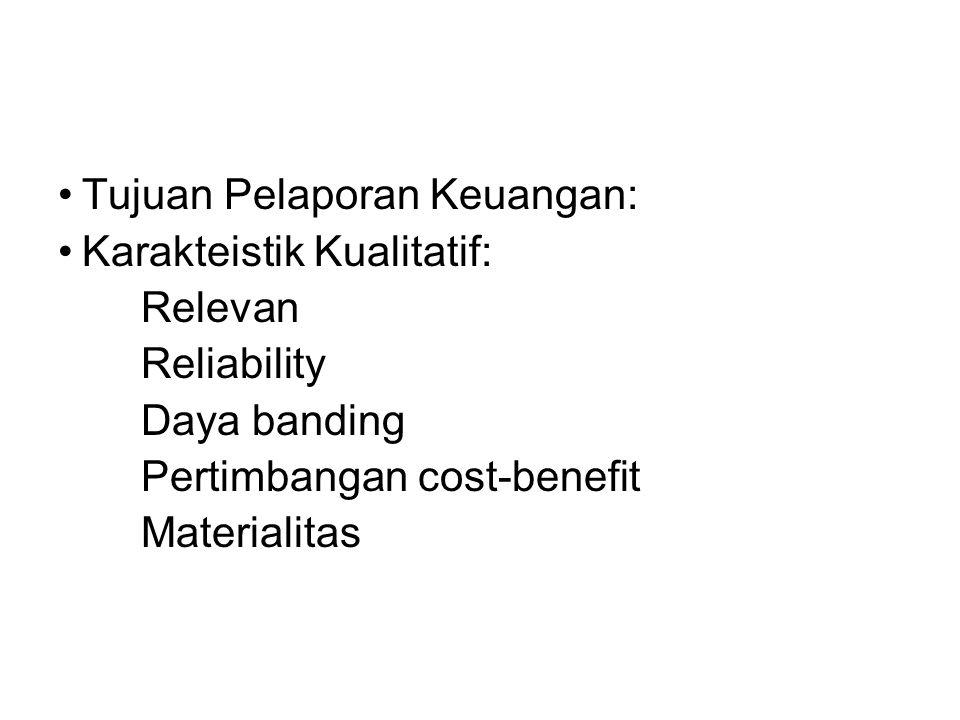 Tujuan Pelaporan Keuangan: Karakteistik Kualitatif: Relevan Reliability Daya banding Pertimbangan cost-benefit Materialitas