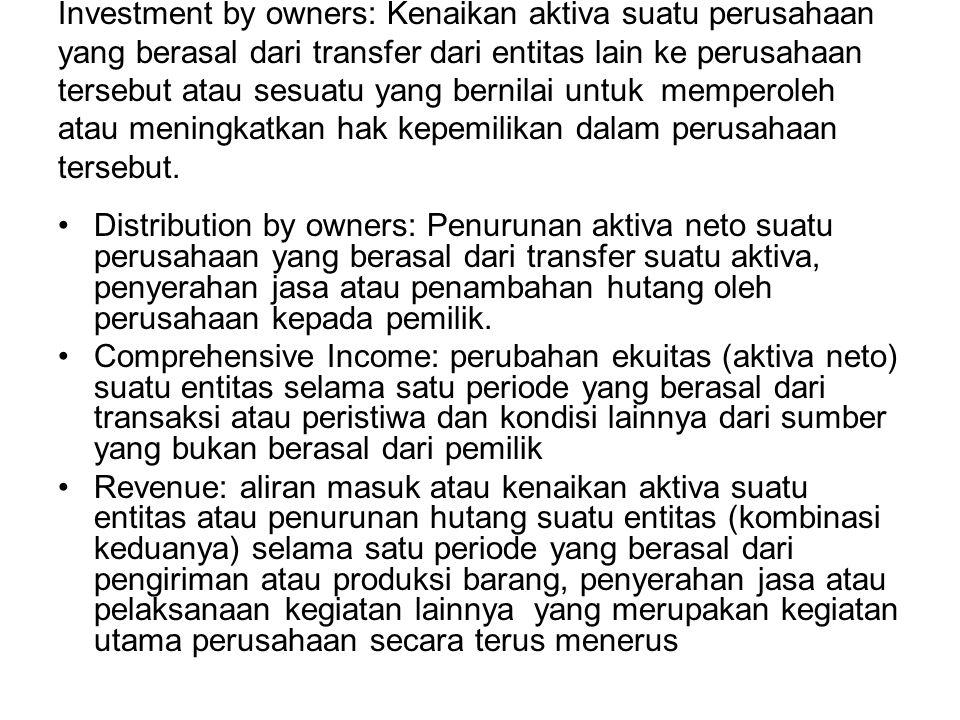Investment by owners: Kenaikan aktiva suatu perusahaan yang berasal dari transfer dari entitas lain ke perusahaan tersebut atau sesuatu yang bernilai
