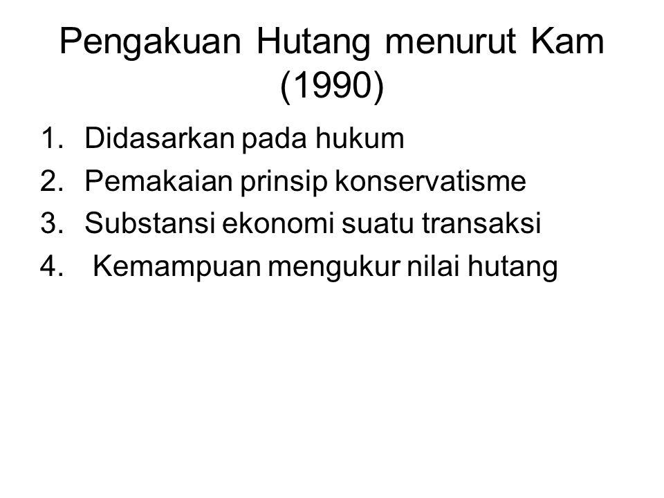 Pengakuan Hutang menurut Kam (1990) 1.Didasarkan pada hukum 2.Pemakaian prinsip konservatisme 3.Substansi ekonomi suatu transaksi 4. Kemampuan menguku