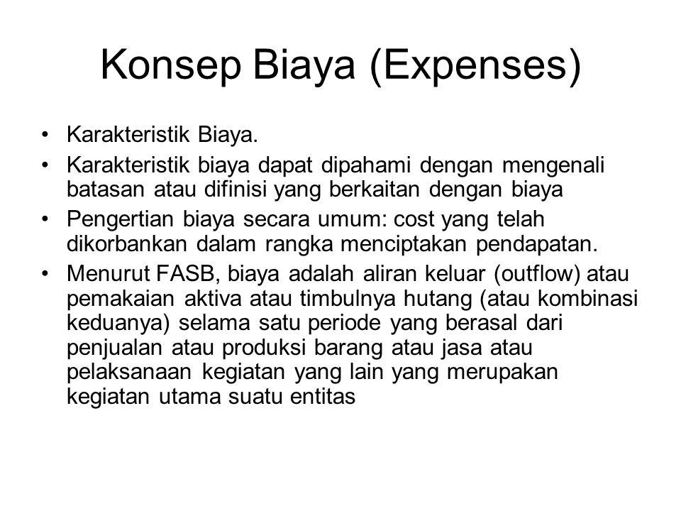 Konsep Biaya (Expenses) Karakteristik Biaya. Karakteristik biaya dapat dipahami dengan mengenali batasan atau difinisi yang berkaitan dengan biaya Pen