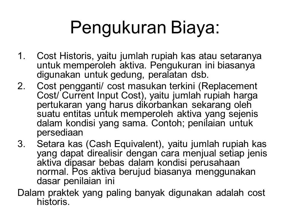 Pengukuran Biaya: 1.Cost Historis, yaitu jumlah rupiah kas atau setaranya untuk memperoleh aktiva. Pengukuran ini biasanya digunakan untuk gedung, per