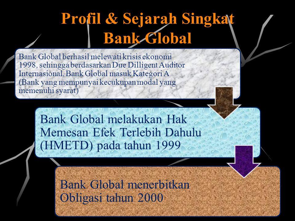 Profil & Sejarah Singkat Bank Global Bank Global berhasil melewati krisis ekonomi 1998, sehingga berdasarkan Due Dilligent Auditor Internasional, Bank