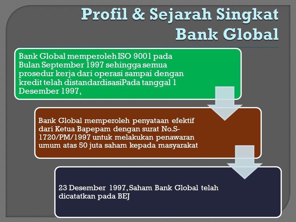 Bank Global memperoleh ISO 9001 pada Bulan September 1997 sehingga semua prosedur kerja dari operasi sampai dengan kredit telah distandardisasiPada ta