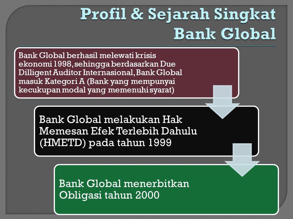 Bank Global berhasil melewati krisis ekonomi 1998, sehingga berdasarkan Due Dilligent Auditor Internasional, Bank Global masuk Kategori A (Bank yang m