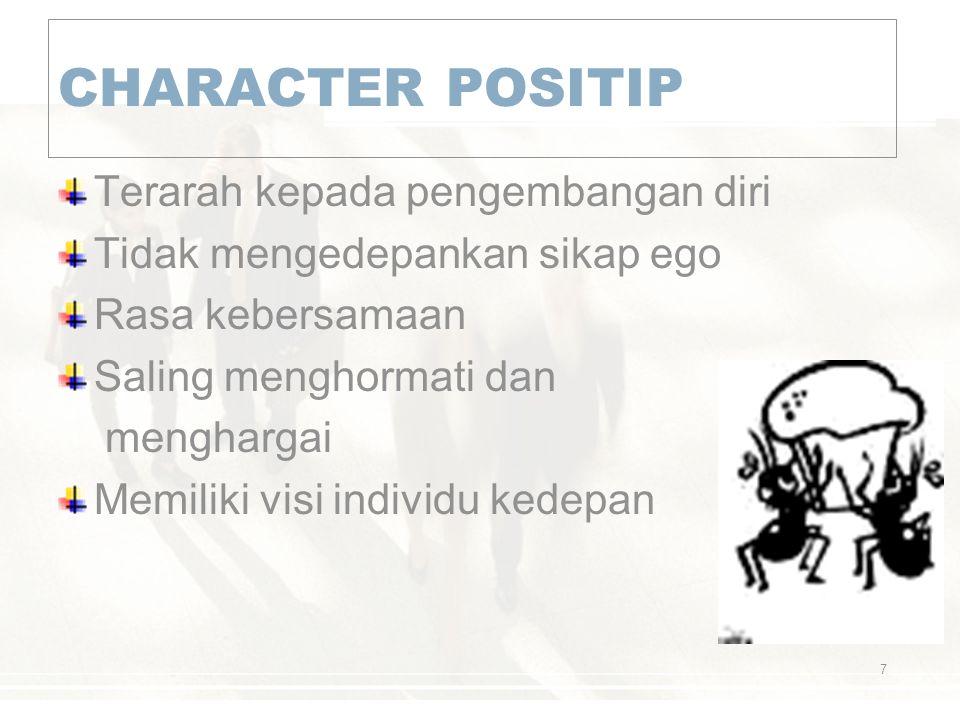 CHARACTER POSITIP Terarah kepada pengembangan diri Tidak mengedepankan sikap ego Rasa kebersamaan Saling menghormati dan menghargai Memiliki visi indi