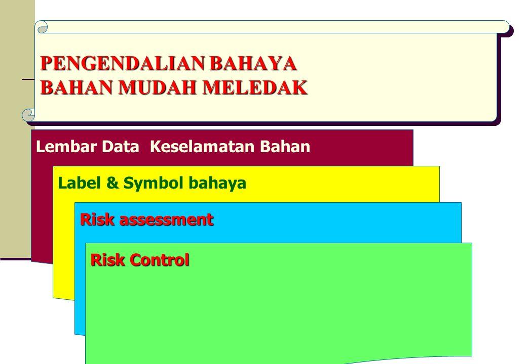 Lembar Data Keselamatan Bahan PENGENDALIAN BAHAYA BAHAN MUDAH MELEDAK Label & Symbol bahaya Risk assessment Risk Control