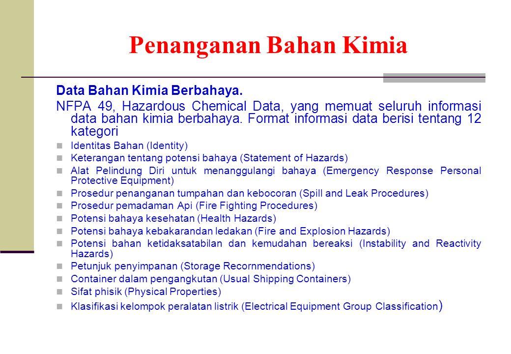 Penanganan Bahan Kimia Data Bahan Kimia Berbahaya. NFPA 49, Hazardous Chemical Data, yang memuat seluruh informasi data bahan kimia berbahaya. Format