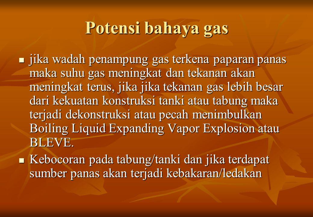 Potensi bahaya gas jika wadah penampung gas terkena paparan panas maka suhu gas meningkat dan tekanan akan meningkat terus, jika jika tekanan gas lebi