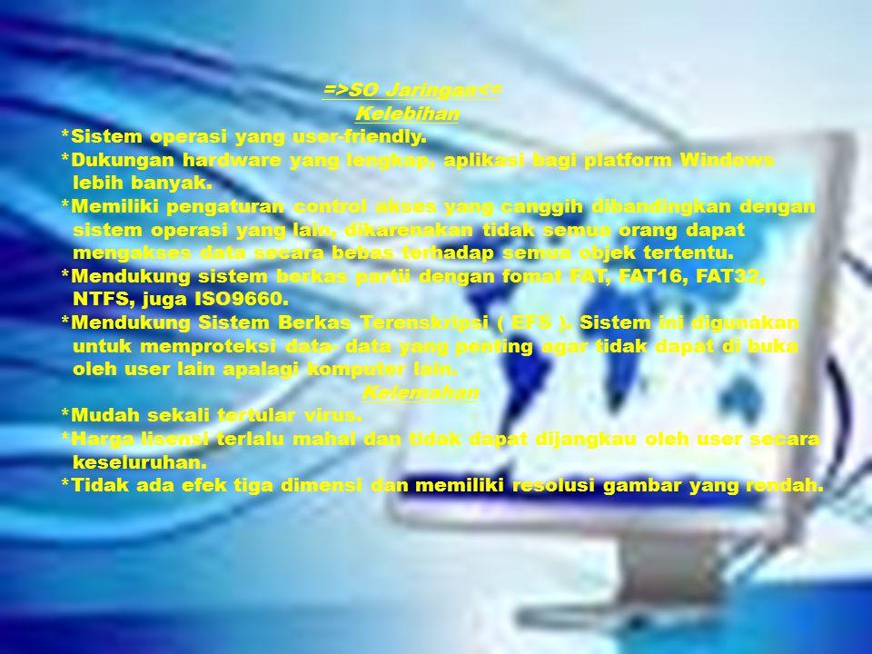 =>SO Jaringan<= Kelebihan *Sistem operasi yang user-friendly.