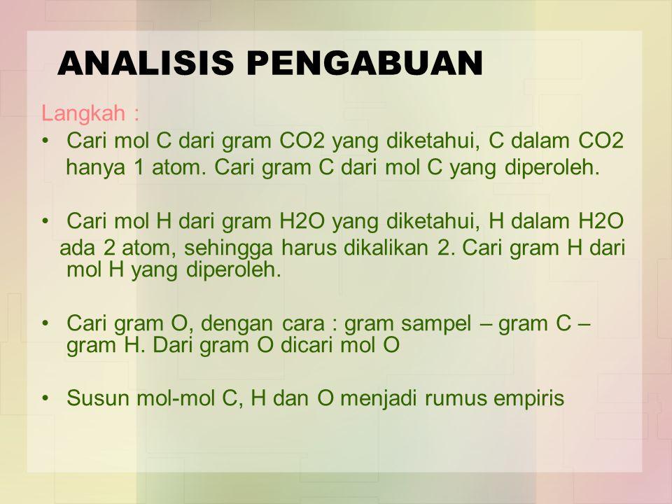 ANALISIS PENGABUAN Langkah : Cari mol C dari gram CO2 yang diketahui, C dalam CO2 hanya 1 atom. Cari gram C dari mol C yang diperoleh. Cari mol H dari