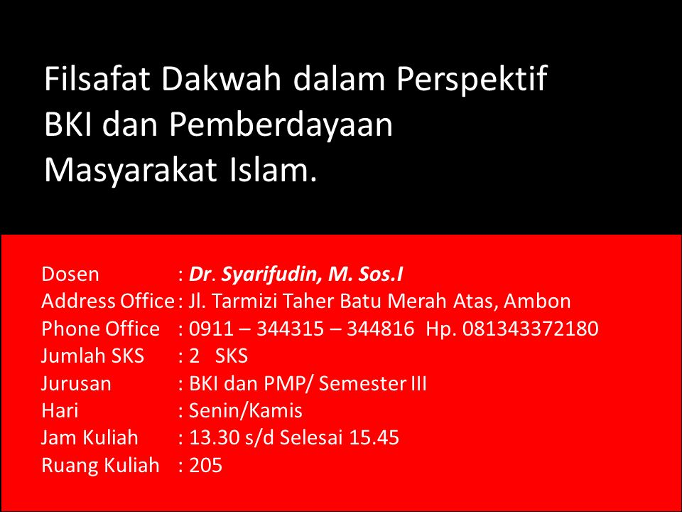 Filsafat Dakwah dalam Perspektif BKI dan Pemberdayaan Masyarakat Islam.