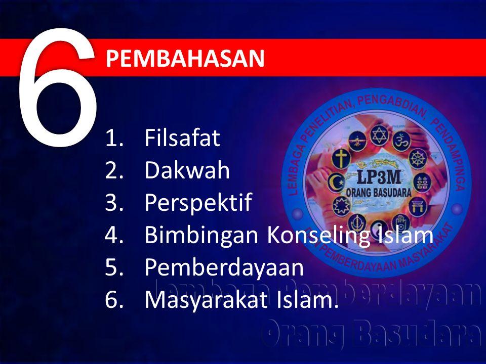 1.Filsafat 2.Dakwah 3.Perspektif 4.Bimbingan Konseling Islam 5.Pemberdayaan 6.Masyarakat Islam.