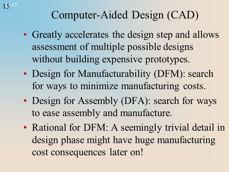 15 13-15 Computer-Aided Design (CAD) Greatly accelerates the design step and allows assessment of multiple possible designs without building expensive prototypes.