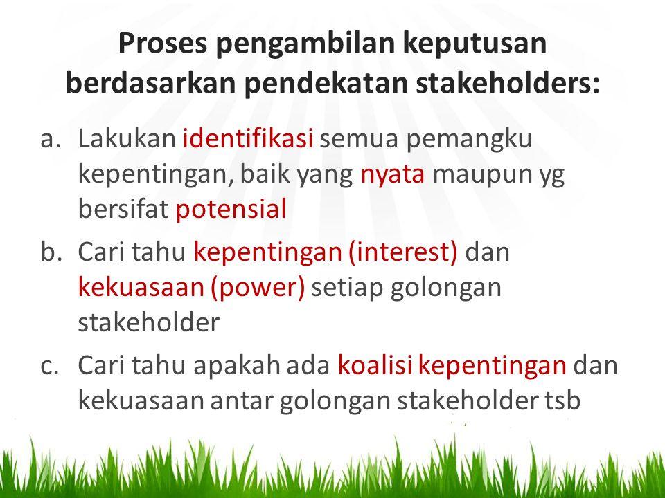 Proses pengambilan keputusan berdasarkan pendekatan stakeholders: a.Lakukan identifikasi semua pemangku kepentingan, baik yang nyata maupun yg bersifa