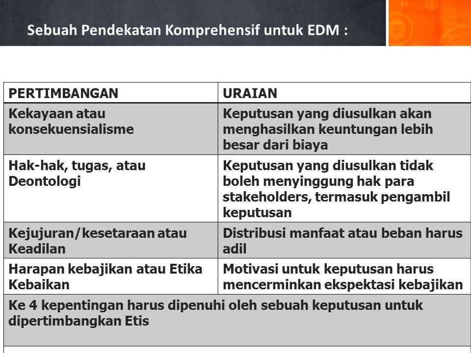 Sebuah Pendekatan Komprehensif untuk EDM : PERTIMBANGANURAIAN Kekayaan atau konsekuensialisme Keputusan yang diusulkan akan menghasilkan keuntungan le