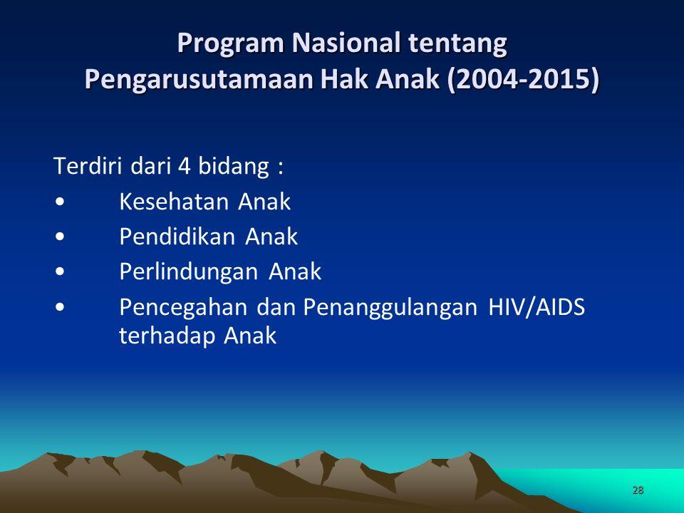 28 Program Nasional tentang Pengarusutamaan Hak Anak (2004-2015) Terdiri dari 4 bidang : Kesehatan Anak Pendidikan Anak Perlindungan Anak Pencegahan dan Penanggulangan HIV/AIDS terhadap Anak