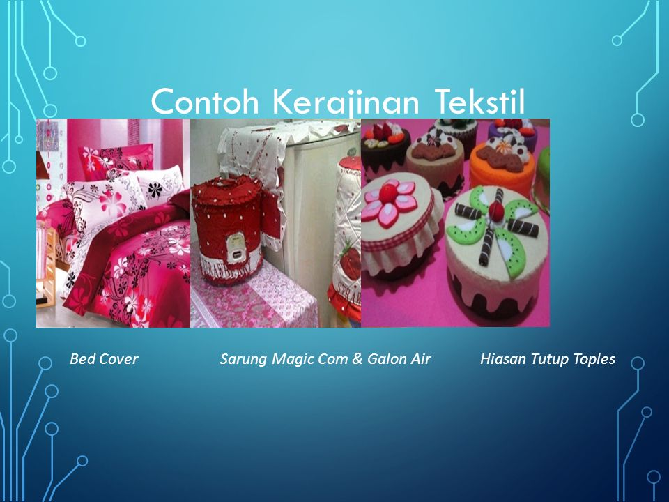 Contoh Kerajinan Tekstil Bed CoverSarung Magic Com & Galon AirHiasan Tutup Toples