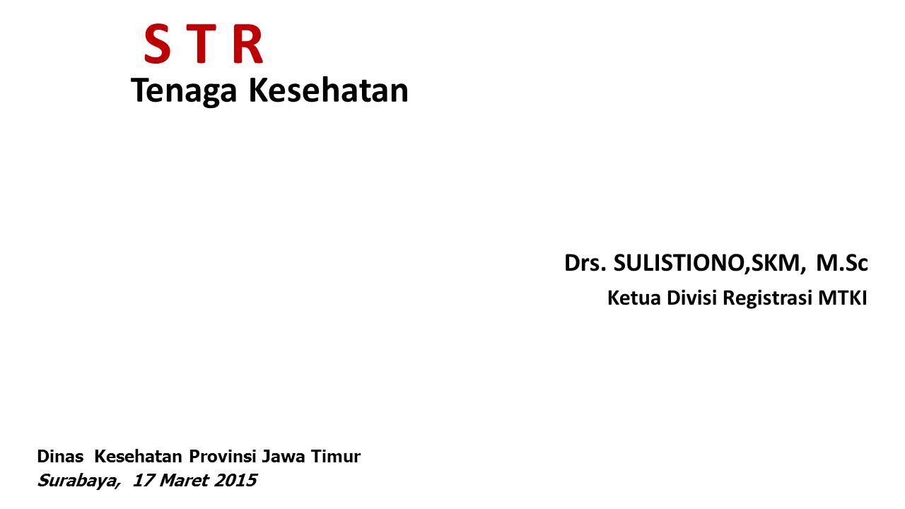 Legalitas Perijinan Nakes Kondisi saat ini: jumlah sekolah kesehatan 197 Jumlah lulusan 13000-14000/tahun 60% mayoritas wilayah didik dari Indonesia bagian Timur Hampir 300 RS di Jatim, semua dituntut JCI, pasti membutuhkan STR STR yang diterbitkan P2T VS STR yang diterbitkan MTKI Ada Perawat yg melamar TKHI, ditolak krn STR dari P2T hanya berlaku lokal, shg dituntut STR dari MTKI