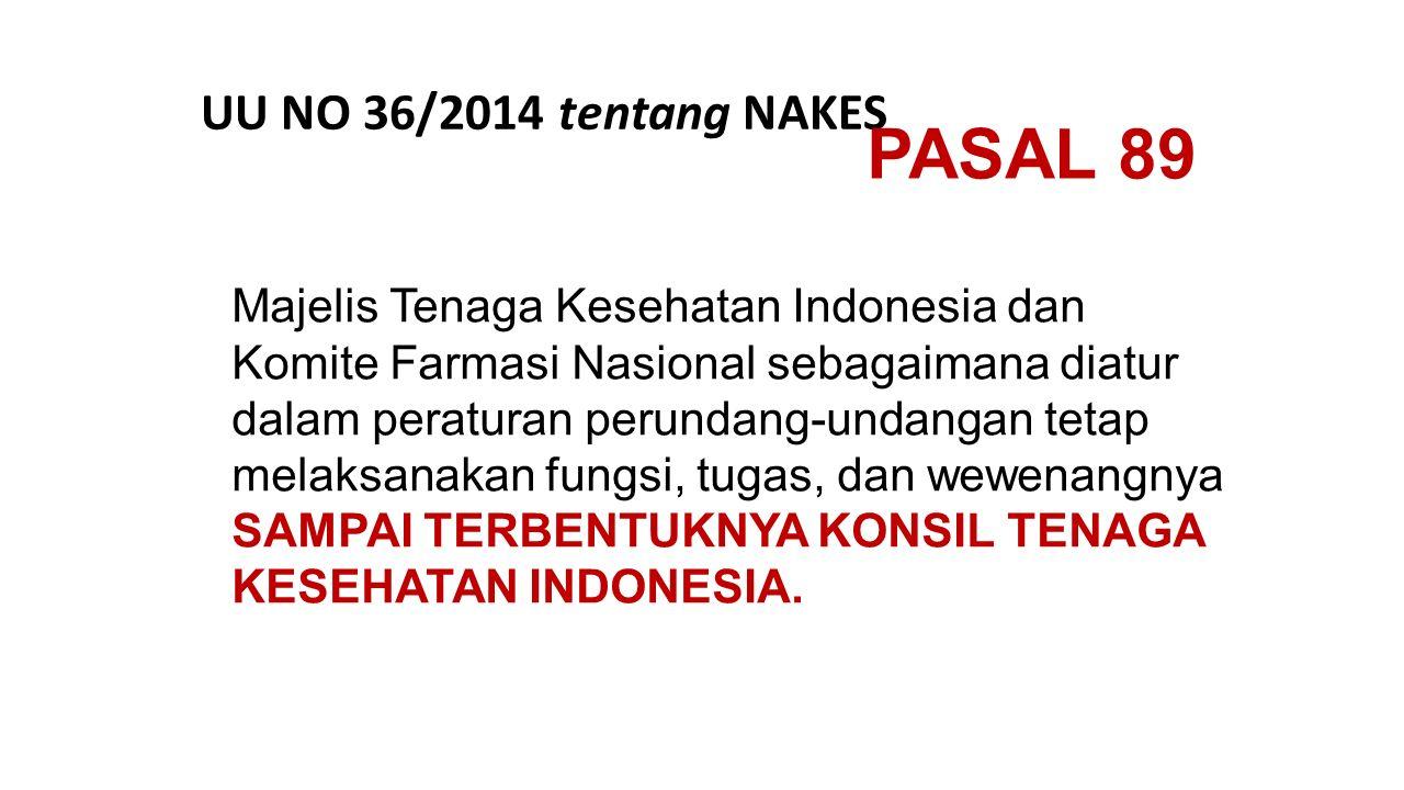 Majelis Tenaga Kesehatan Indonesia dan Komite Farmasi Nasional sebagaimana diatur dalam peraturan perundang-undangan tetap melaksanakan fungsi, tugas,