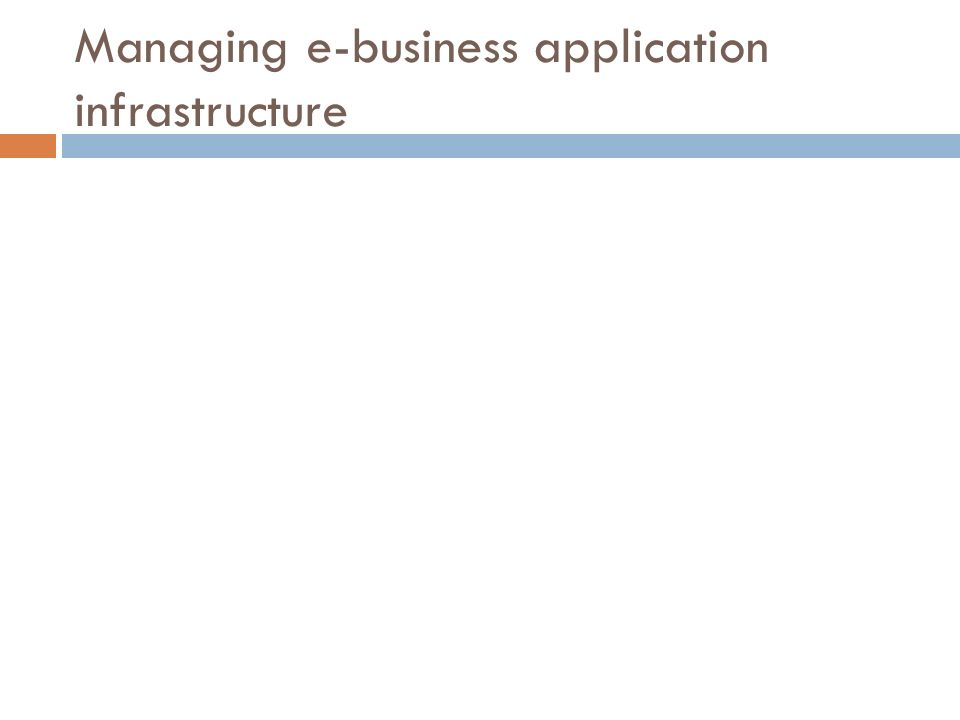 Managing e-business application infrastructure