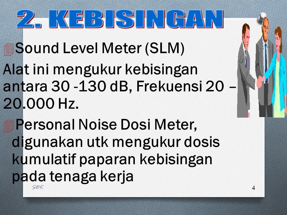 SDK 4 4 Sound Level Meter (SLM) Alat ini mengukur kebisingan antara 30 -130 dB, Frekuensi 20 – 20.000 Hz.