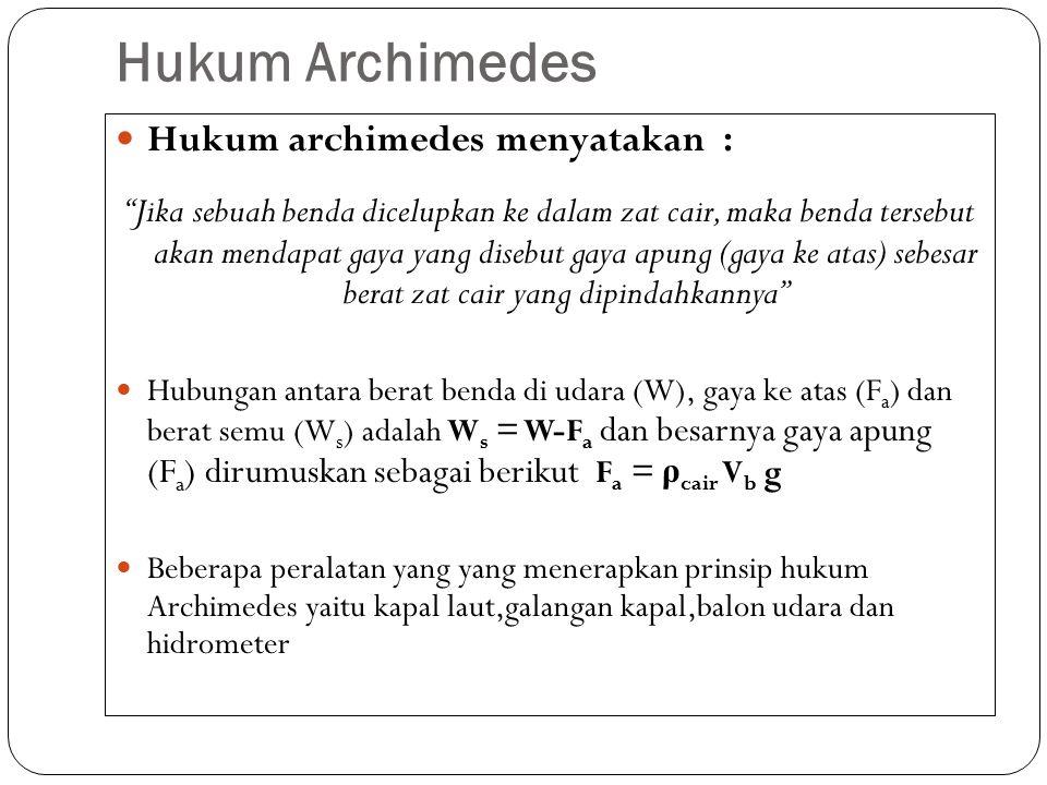 """Hukum Archimedes Hukum archimedes menyatakan : """"Jika sebuah benda dicelupkan ke dalam zat cair, maka benda tersebut akan mendapat gaya yang disebut ga"""