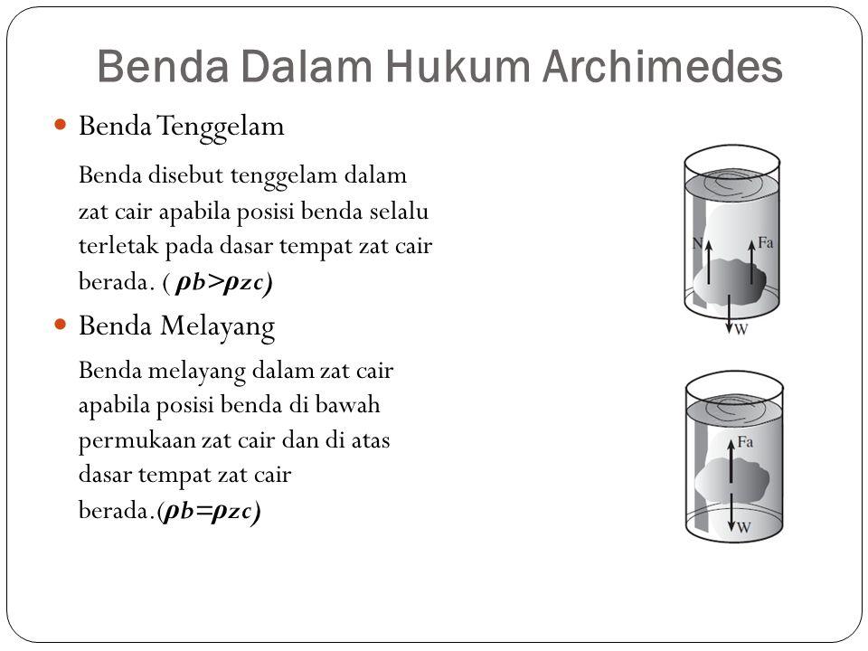 Benda Dalam Hukum Archimedes Benda Tenggelam Benda disebut tenggelam dalam zat cair apabila posisi benda selalu terletak pada dasar tempat zat cair berada.