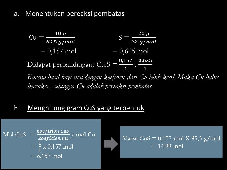 Massa CuS = 0,157 mol X 95,5 g/mol = 14,99 mol