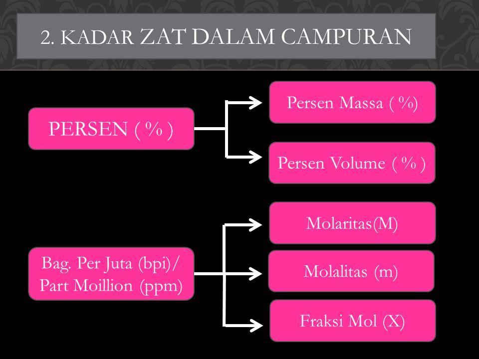 2. KADAR ZAT DALAM CAMPURAN PERSEN ( % ) Persen Massa ( %) Persen Volume ( % ) Bag.