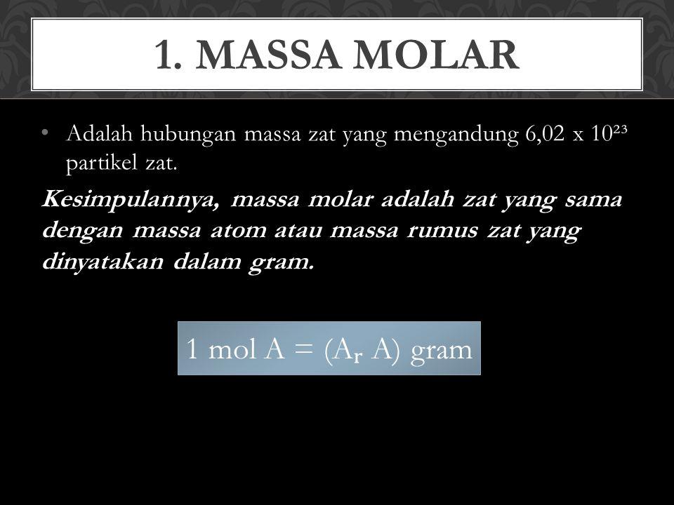 Dengan menggunakan pengertian massa molar (M) maka, jumlah mol suatu zat dapat dihitung dengan cara: n = jumlah mol zat (mol) a = massa zat dalam satuan gram (g) M = massa molar (g/mol) Perhitungan massa molar (M) dari suatu molekul atau satuan rumus kimia senyawa adalah jumlah A dari atom-atom penyusunnya.