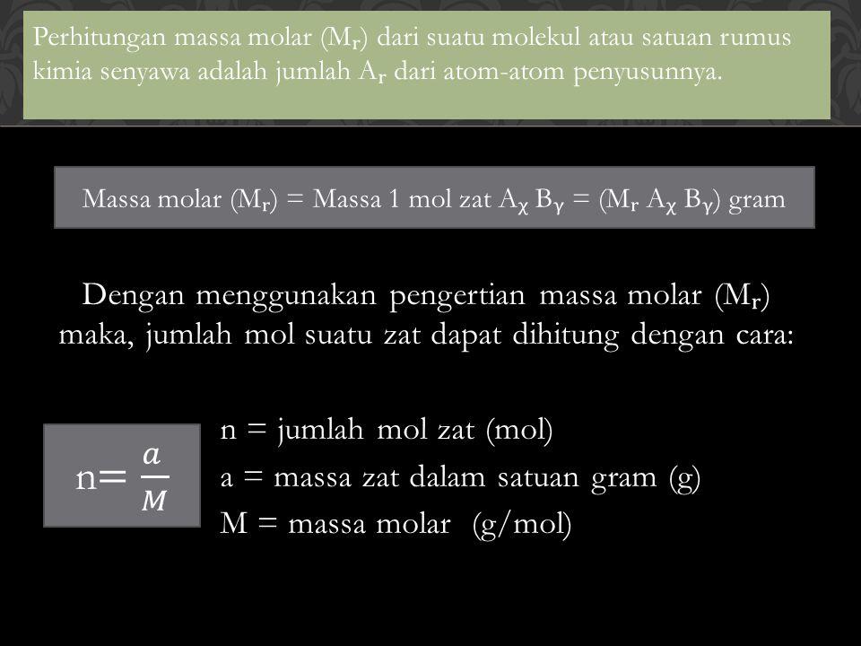 Contoh Soal: Berapa gram massa urea {CO((NH ₂ ) ₂ )} yang mengandung 0,15 mol urea.