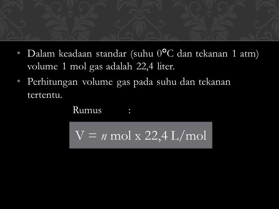 Dalam keadaan standar (suhu 0°C dan tekanan 1 atm) volume 1 mol gas adalah 22,4 liter.